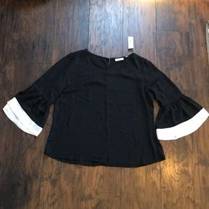 New York & Company Black Blouse with Flared Arms